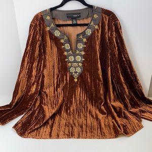 Venezia crinkle velvet bronze color blouse